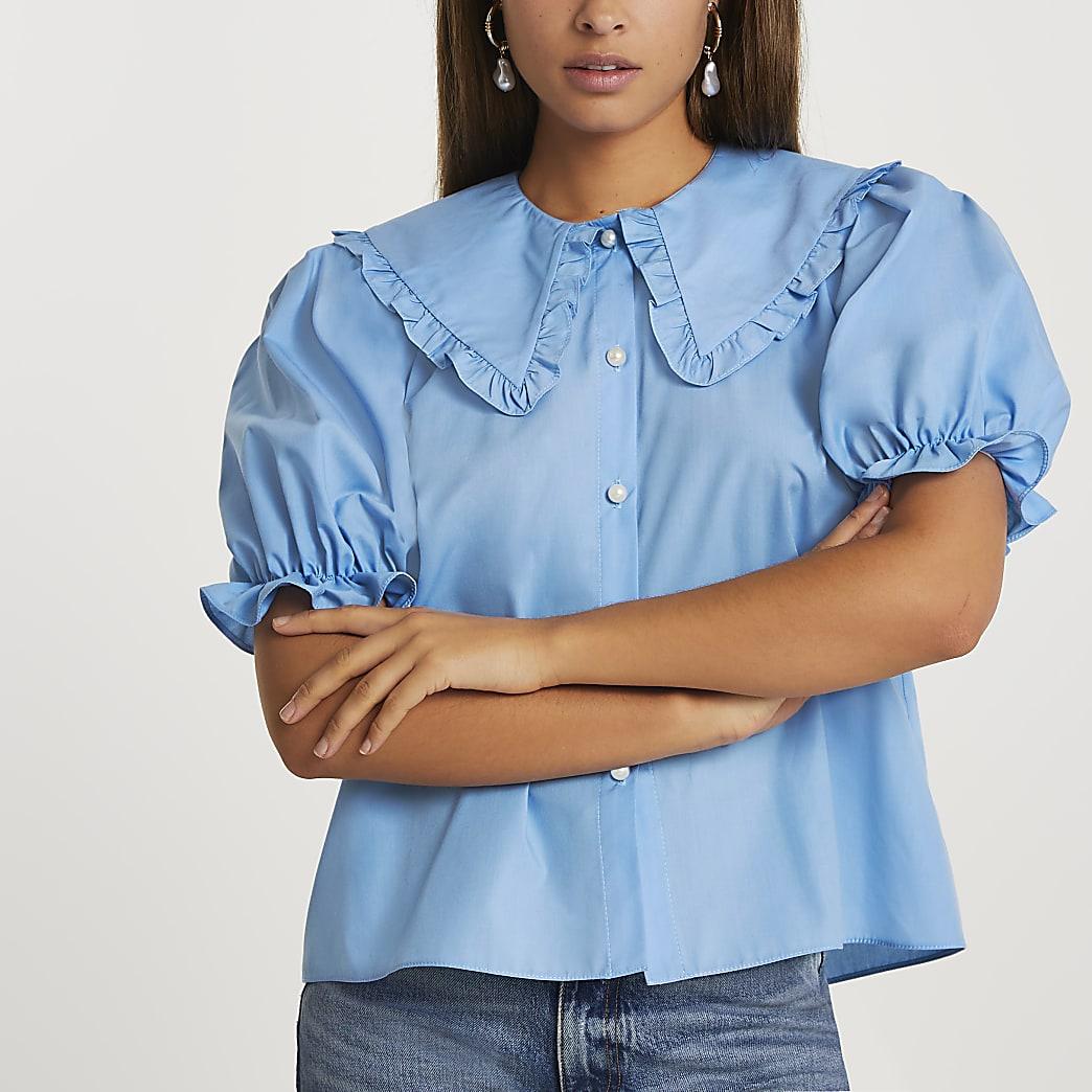Blue short sleeve collar top
