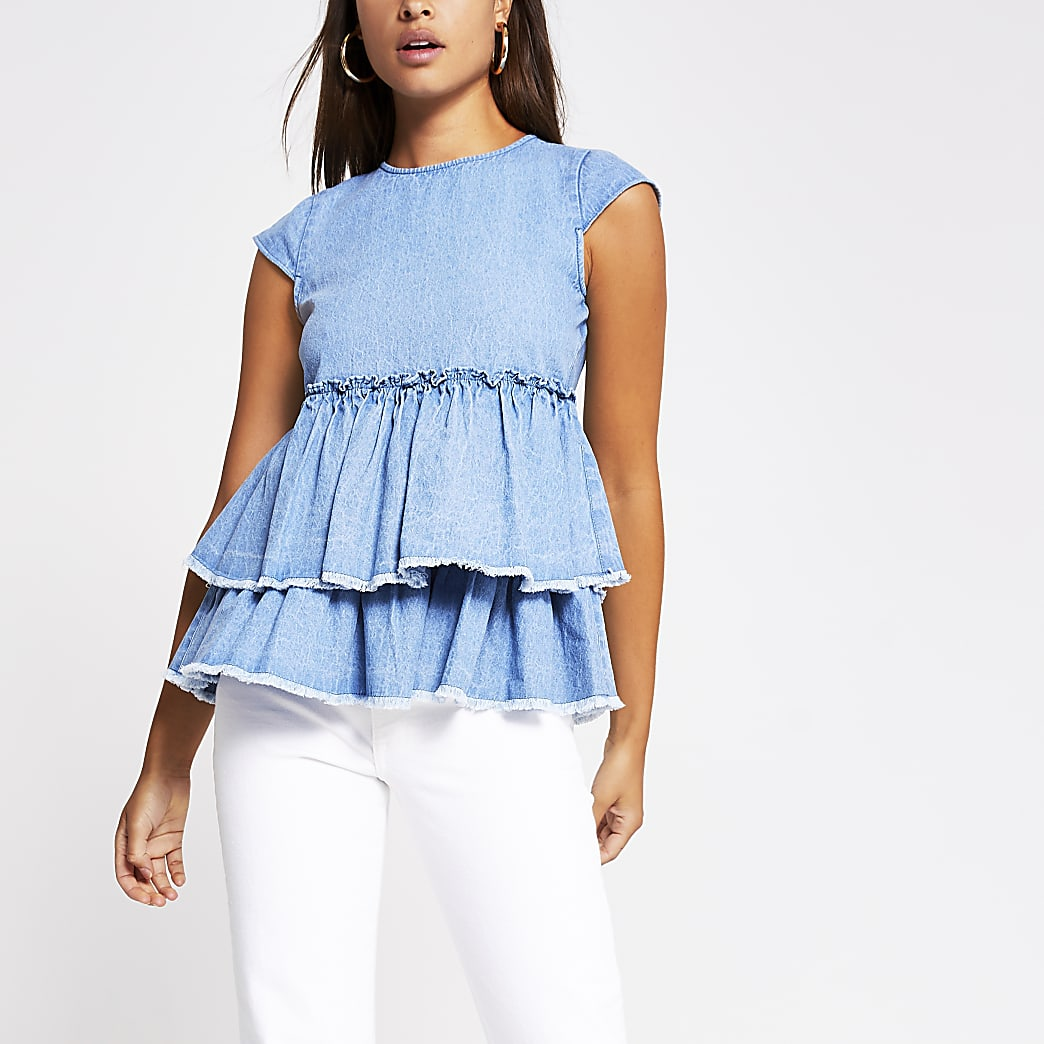 Blue short sleeve denim ruffle top
