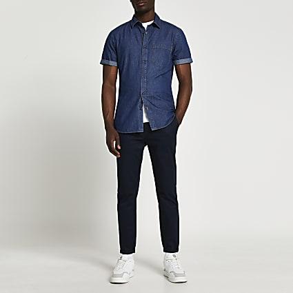Blue short sleeve denim shirt