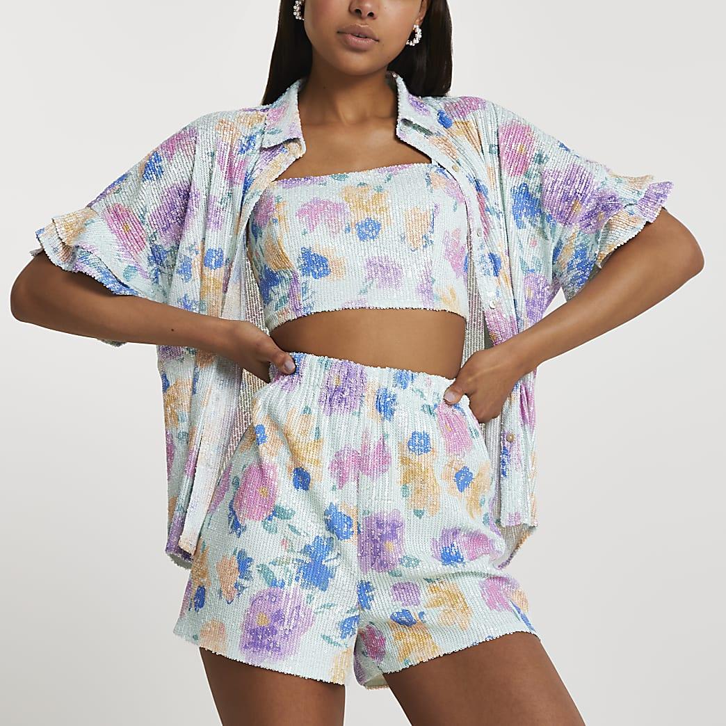Blue short sleeve embellished floral shorts