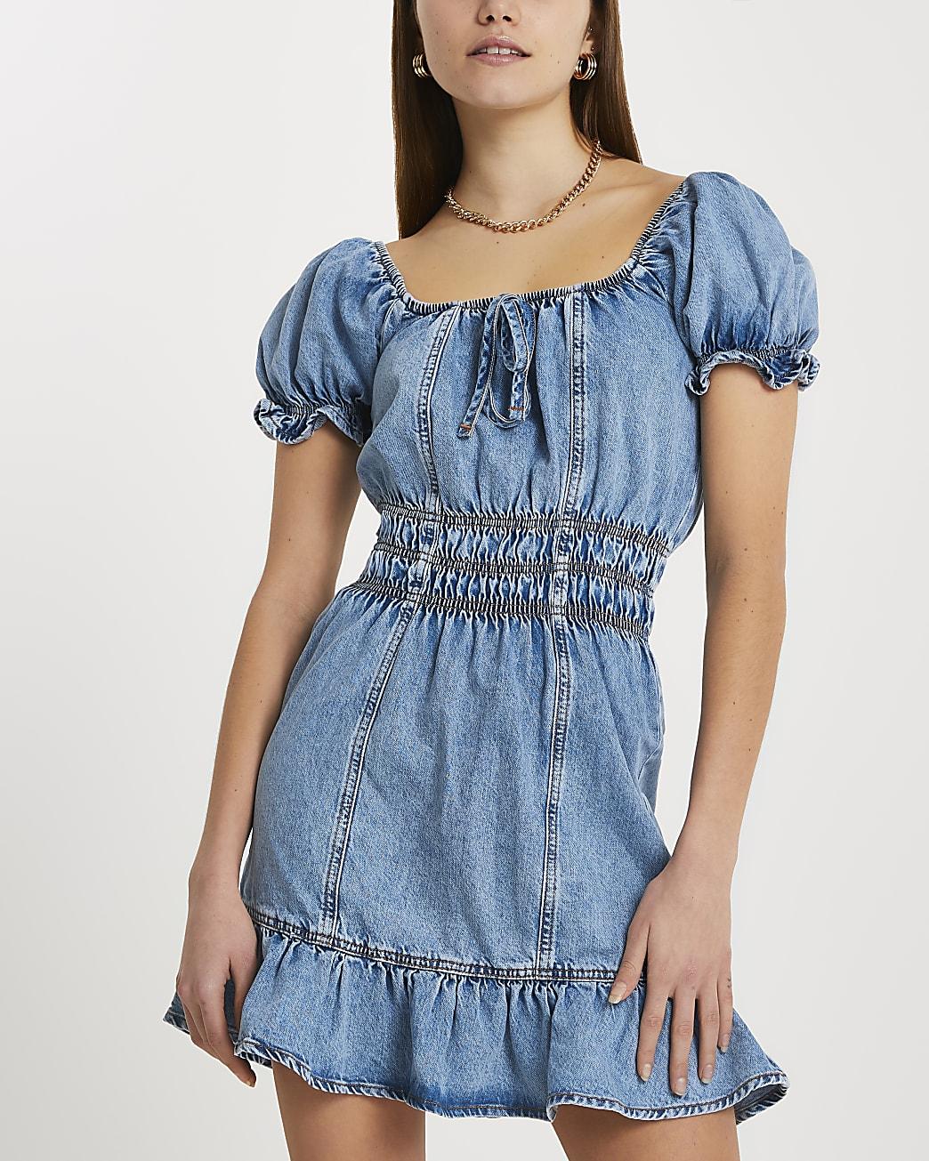 Blue short sleeve frill hem denim mini dress