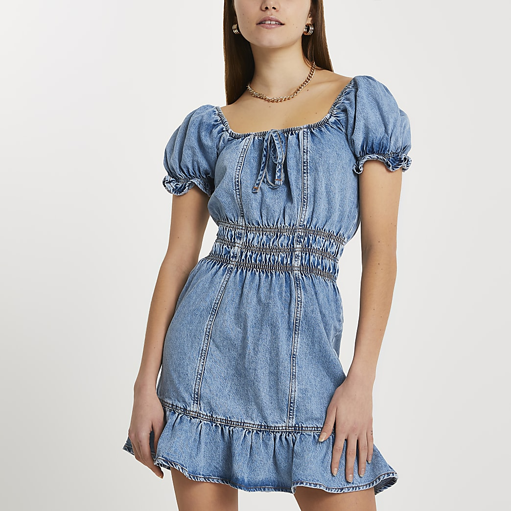 Blue short sleeve frill hem denim mini dress