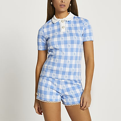 Blue short sleeve jacquard polo top