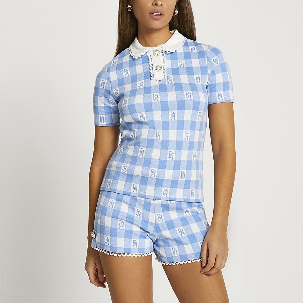 Blue short sleeve jacquard polo top