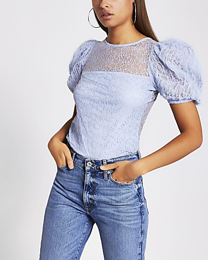 Blue short sleeve lace puff sleeve top