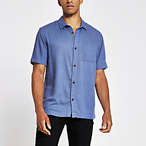 Blue short sleeve linen regular fit shirt