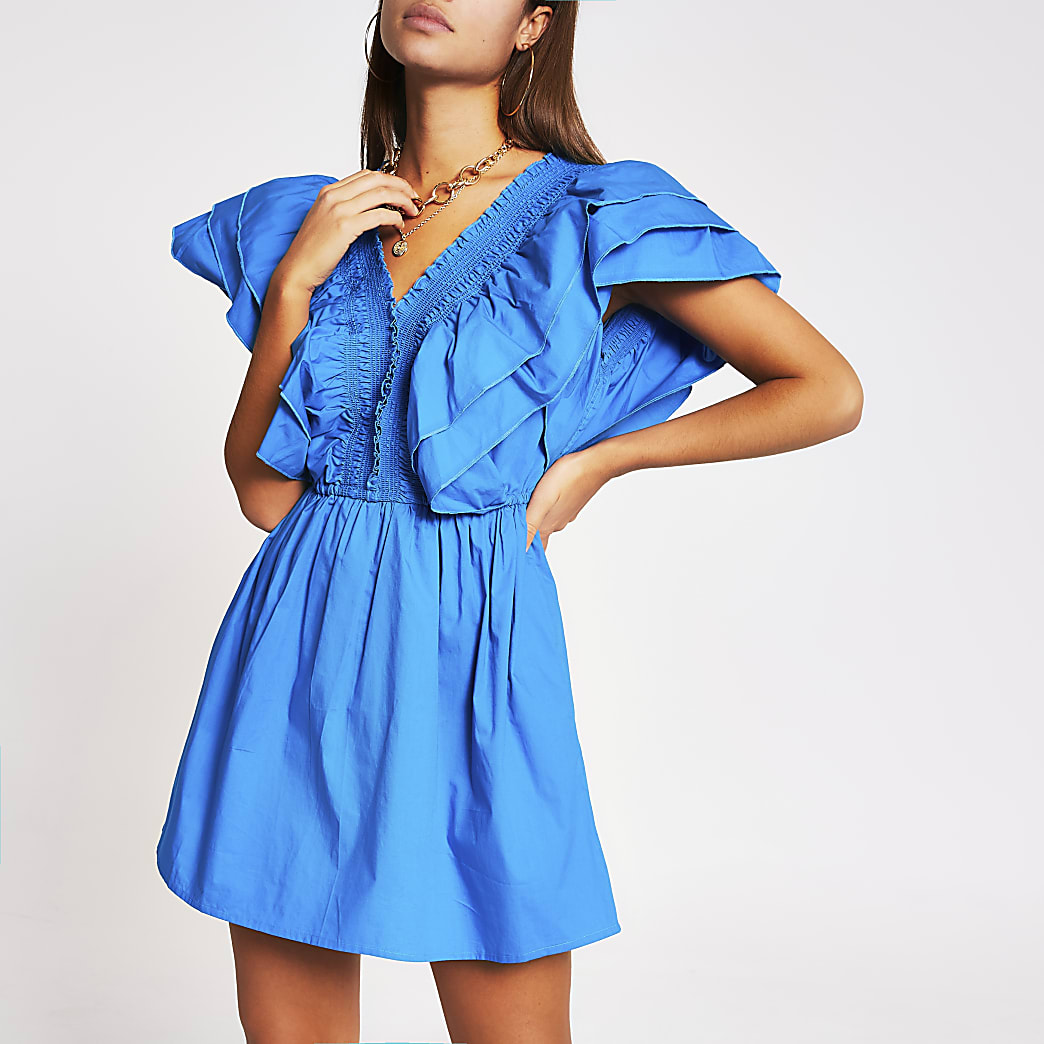 Blue short sleeve poplin playsuit