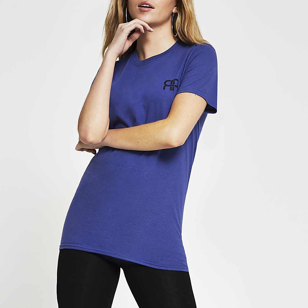 Blue short sleeve RI boyfriend t-shirt