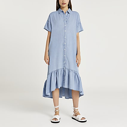 Blue short sleeve ruffle shirt midi dress