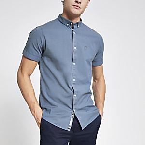 Blauw slim-fit Oxford overhemd met korte mouwen