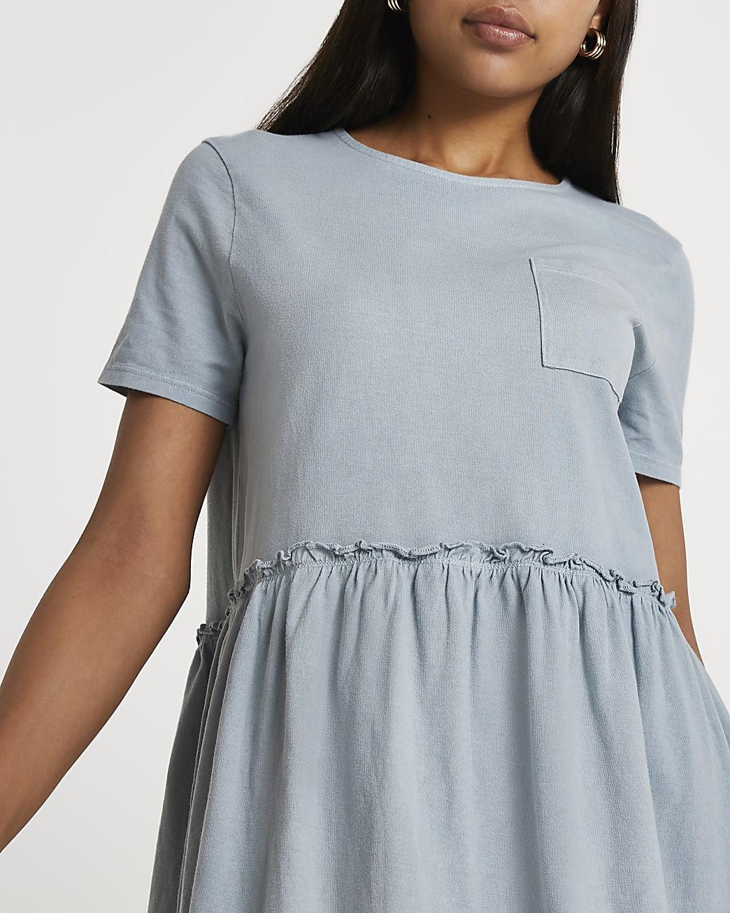 Blue short sleeve smock dress