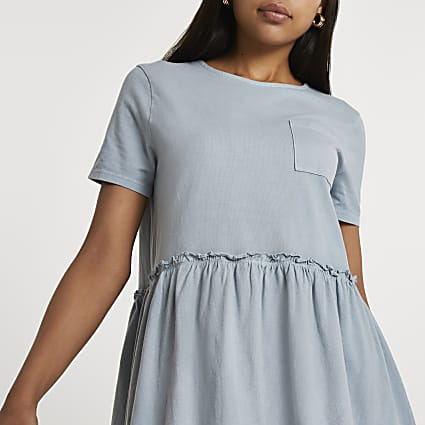Blue short sleeve smock dress