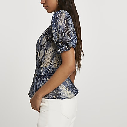 Blue short sleeve snake print peplum top