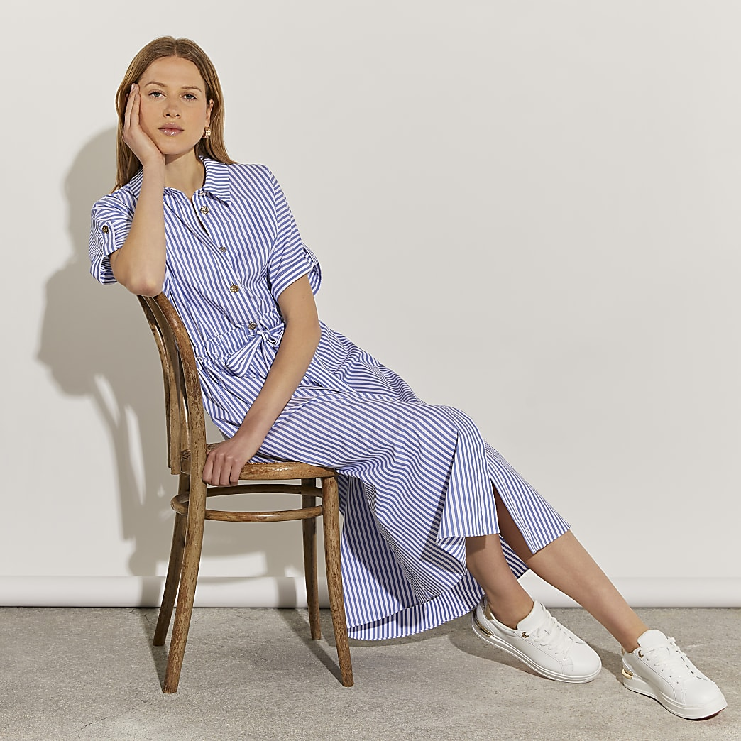 Blue short sleeve stripe midi shirt dress