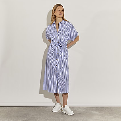 Blue short sleeve stripe midi shirt dress