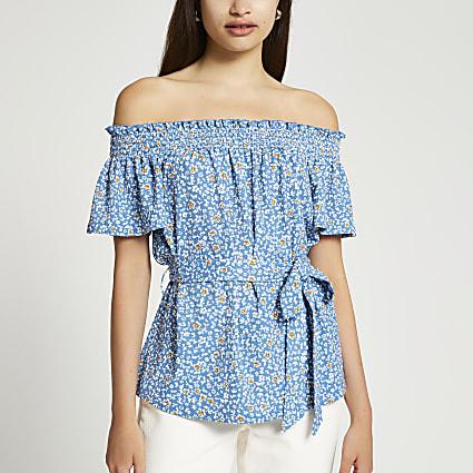 Blue short sleeve tie waist floral bardot