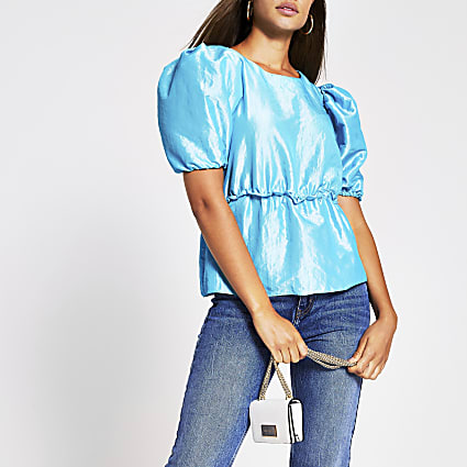 Blue short sleeved taffeta peplum top