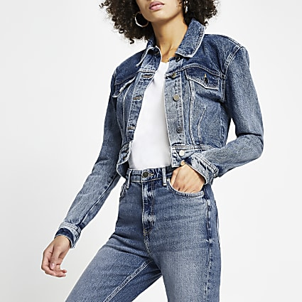 Blue shoulder pad crop denim jacket