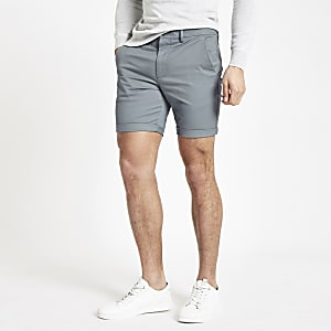 Blaue Skinny Chino-Shorts