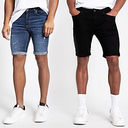 Blue skinny denim shorts 2 pack