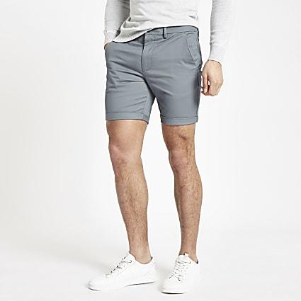 Blue skinny fit chino shorts