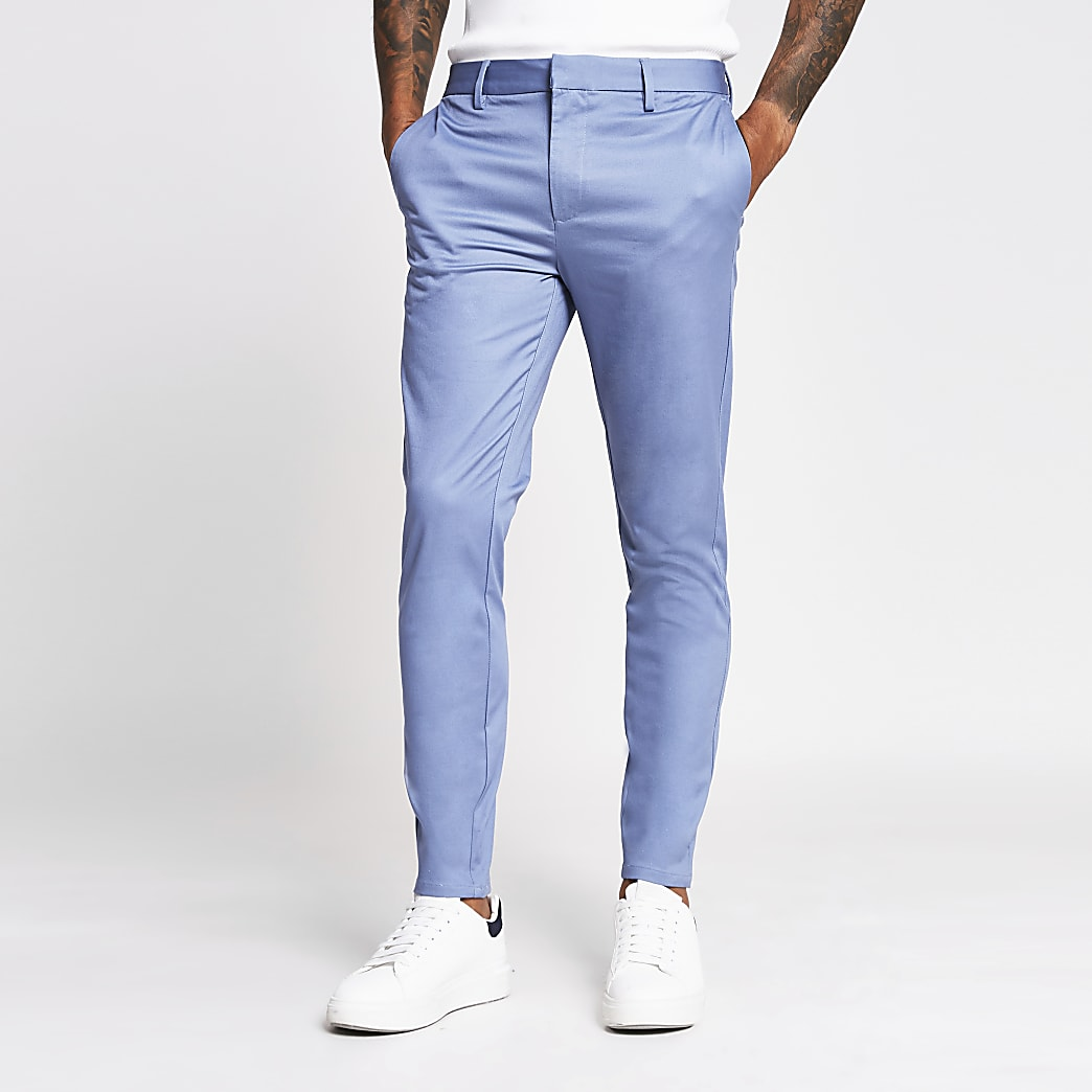 Blue skinny fit chino trousers