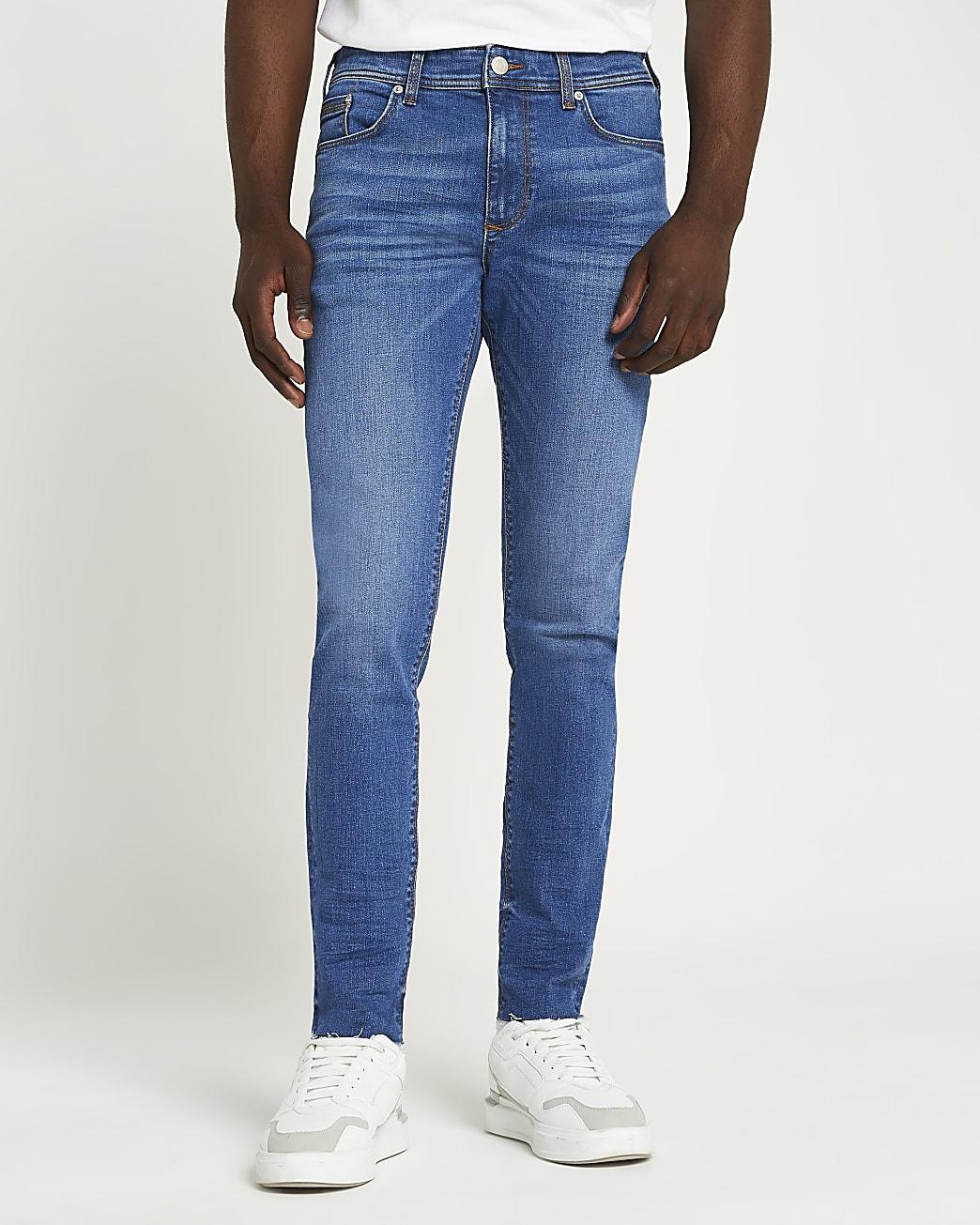 Blue skinny fit raw hem jeans