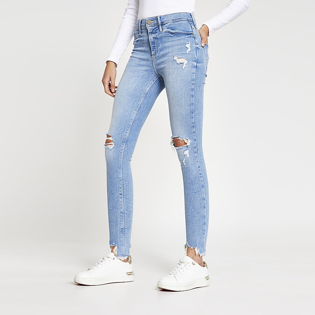 Blue skinny mid rise Molly jeggings