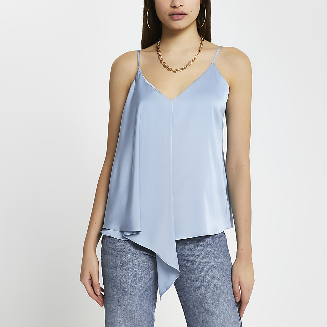 Blue sleeveless asymmetric cami top