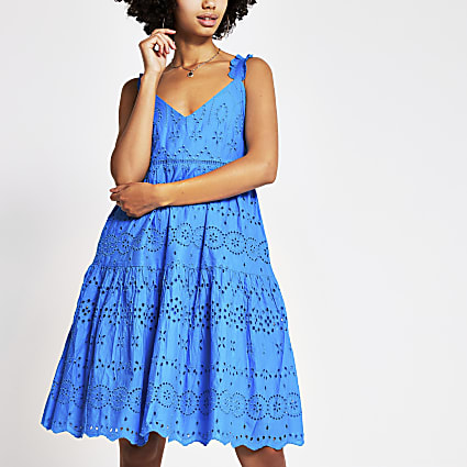 Blue sleeveless broderie midi dress