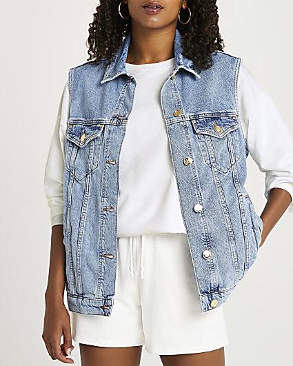 Blue sleeveless denim jacket