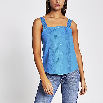 Blue sleeveless lace cami