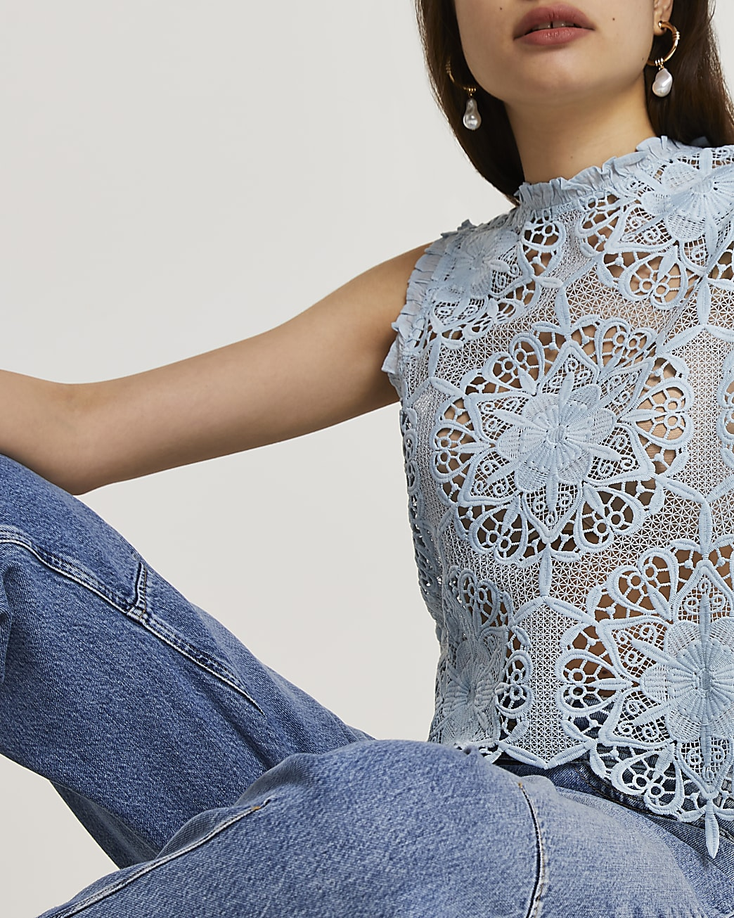 Blue sleeveless lace shell vest top