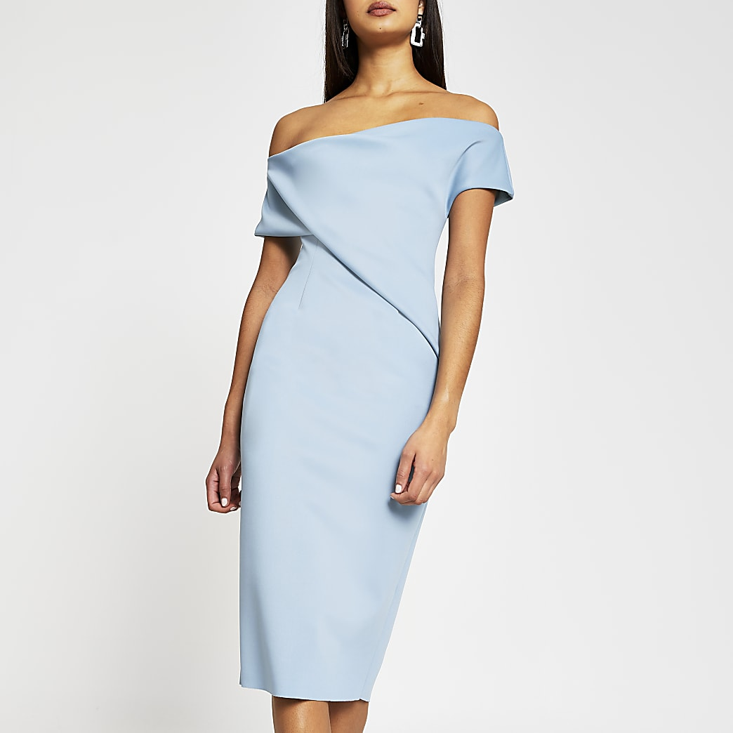 Blue sleeveless one shoulder midi dress