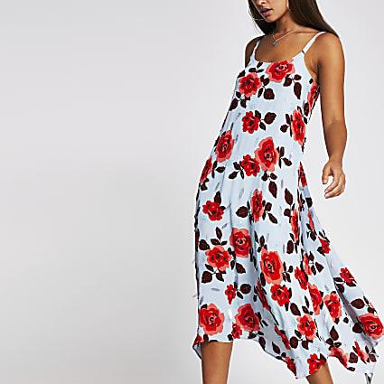 Blue sleeveless rose embellished slip dress