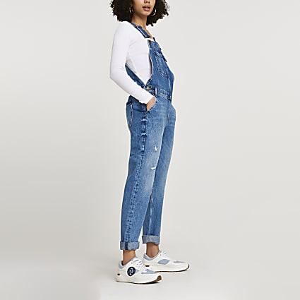 Blue sleeveless slim leg dungarees