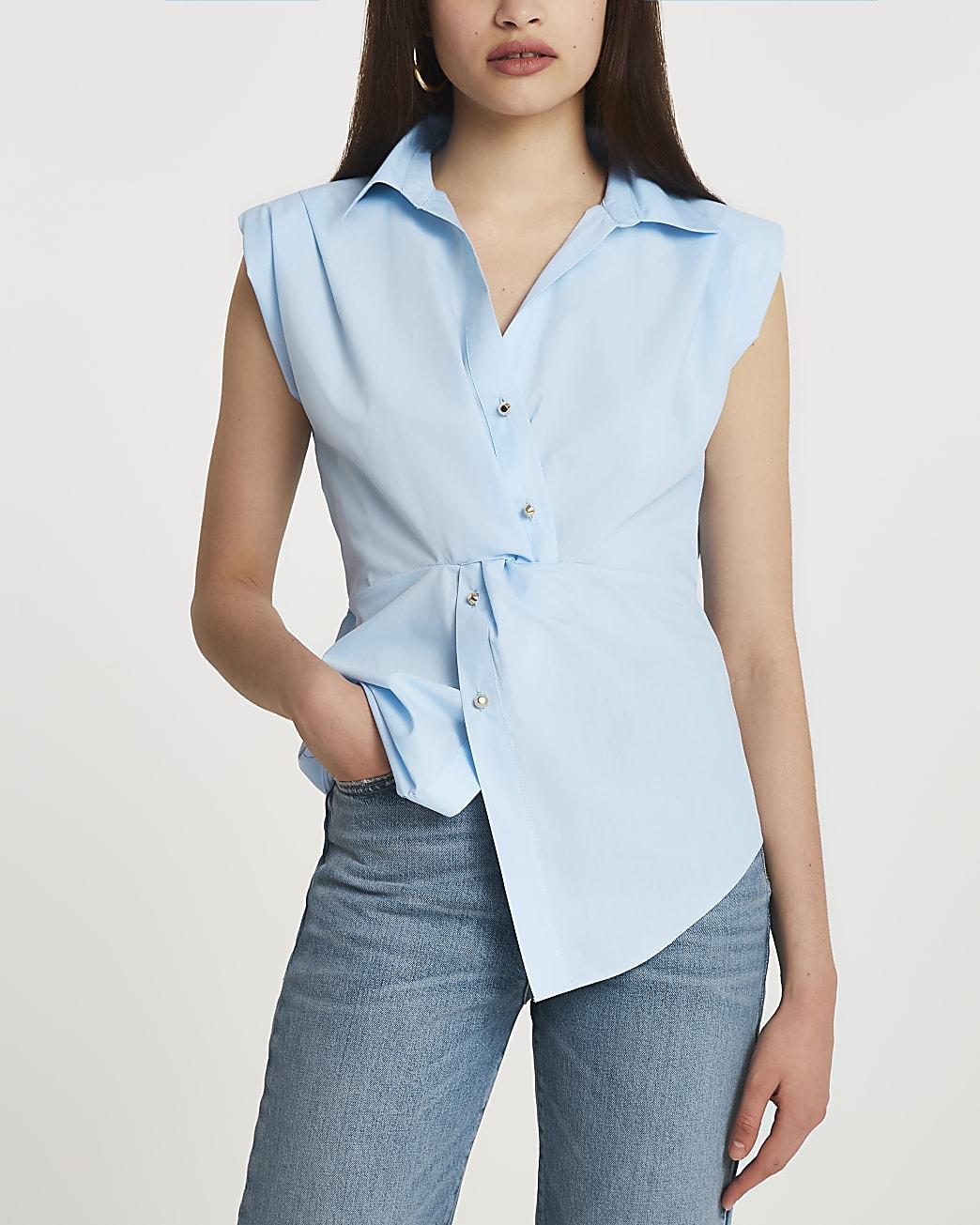 Blue sleeveless twist front shirt