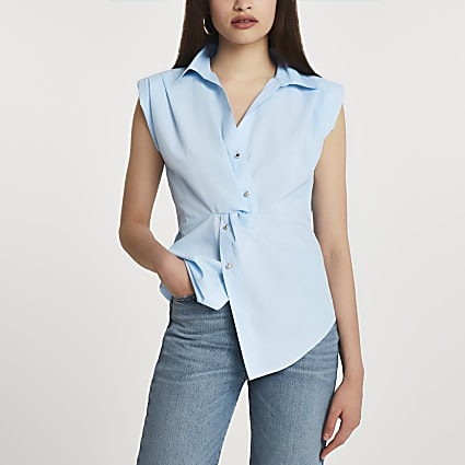 Blue sleeveless twist front shirt