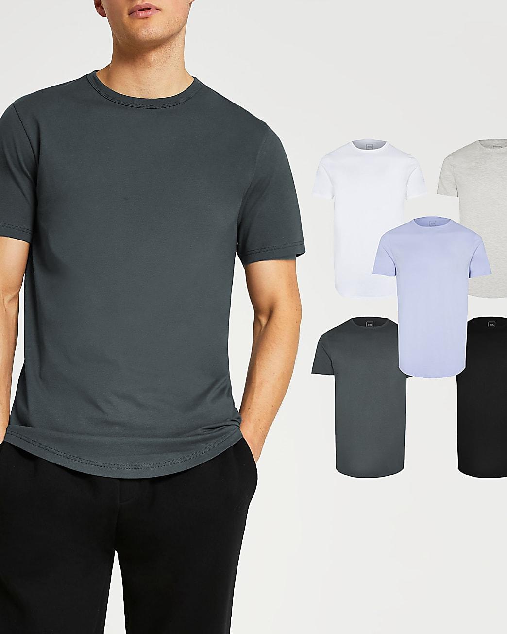 Blue slim fit double curve hem t-shirt 5 pack