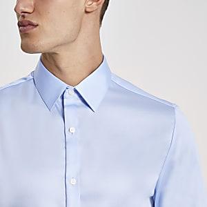 Blauw slim-fit overhemd van Egyptisch katoen