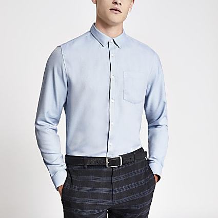 Blue slim fit herringbone long sleeve shirt