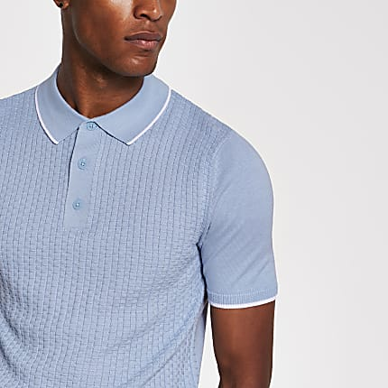 Blue slim fit knitted polo shirt