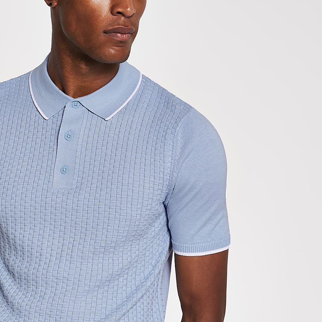 Blue slim fit knitted short sleeve polo shirt