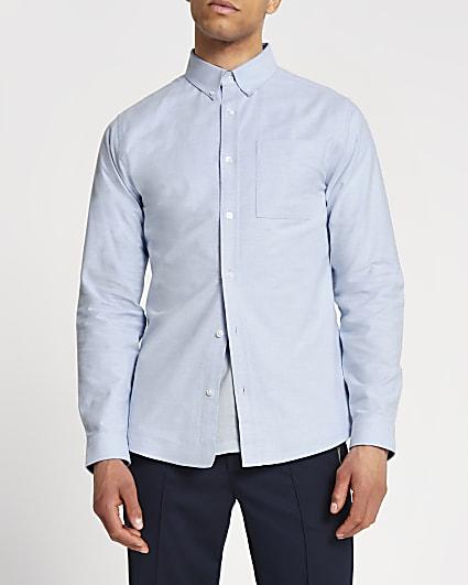 Blue slim fit long sleeve Oxford shirt