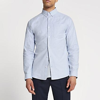 Blue slim fit Oxford shirt
