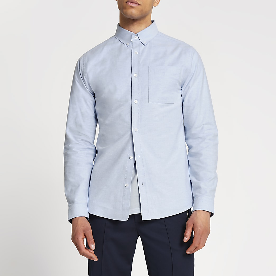 Blue slim fit Oxford shirt