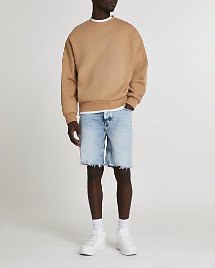Blue slim fit raw hem denim shorts