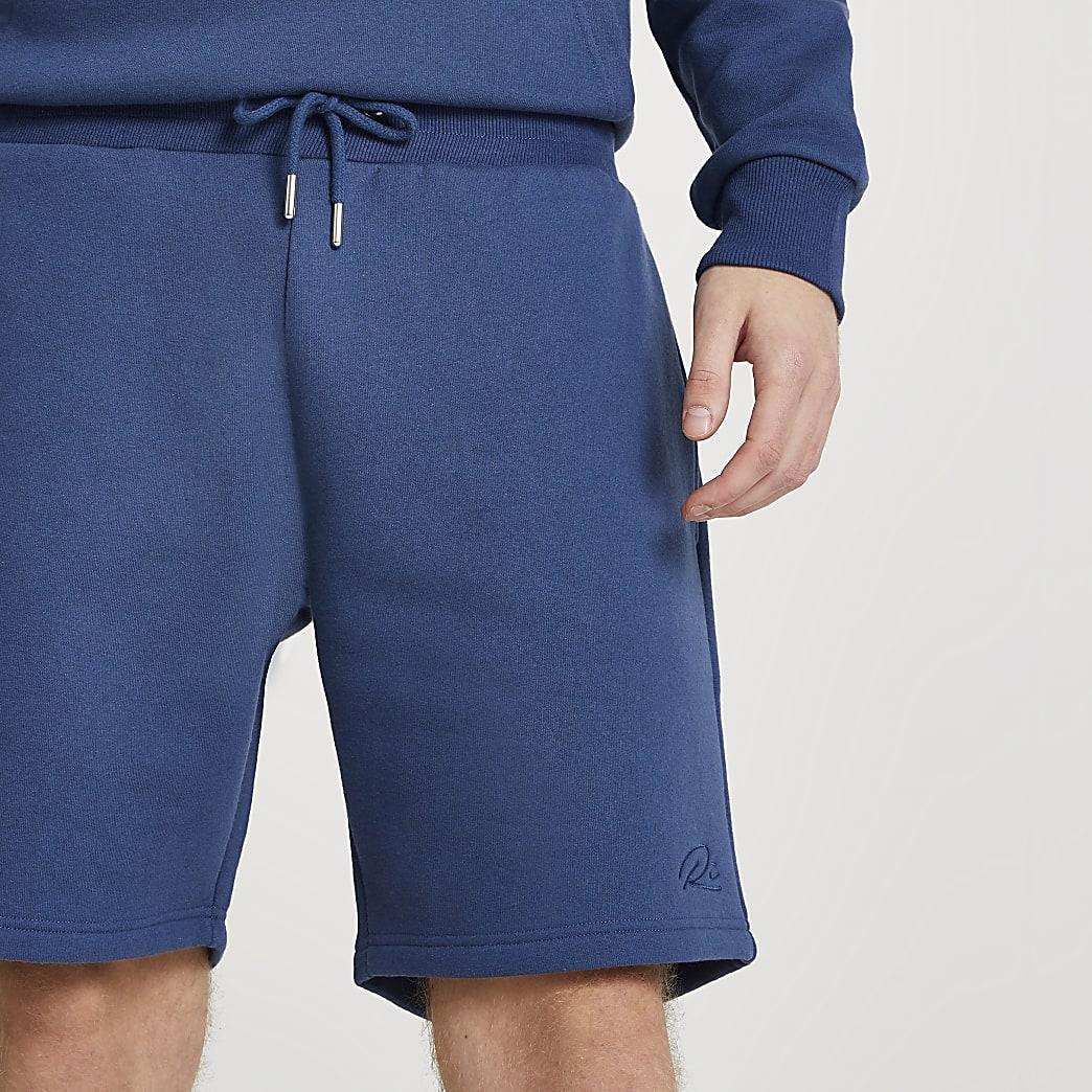 Blue slim fit RI shorts