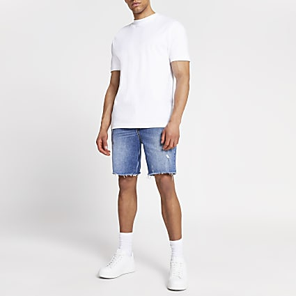 Blue slim fit ripped raw hem denim shorts