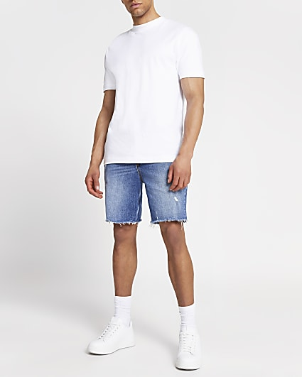 Blue slim fit ripped raw hem denim shorts